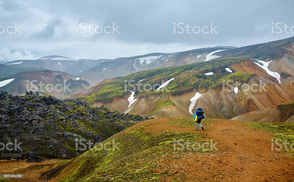 hiker in the mountains, Iceland stock photo