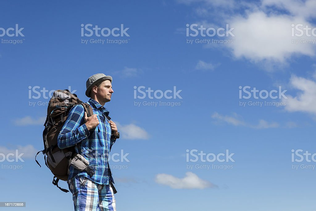 Hiker in the mountains royalty-free stock photo
