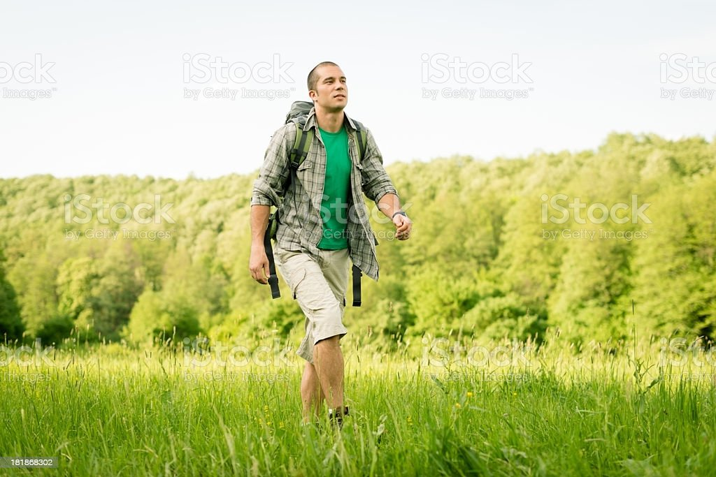 Hiker in The Nature royalty-free stock photo