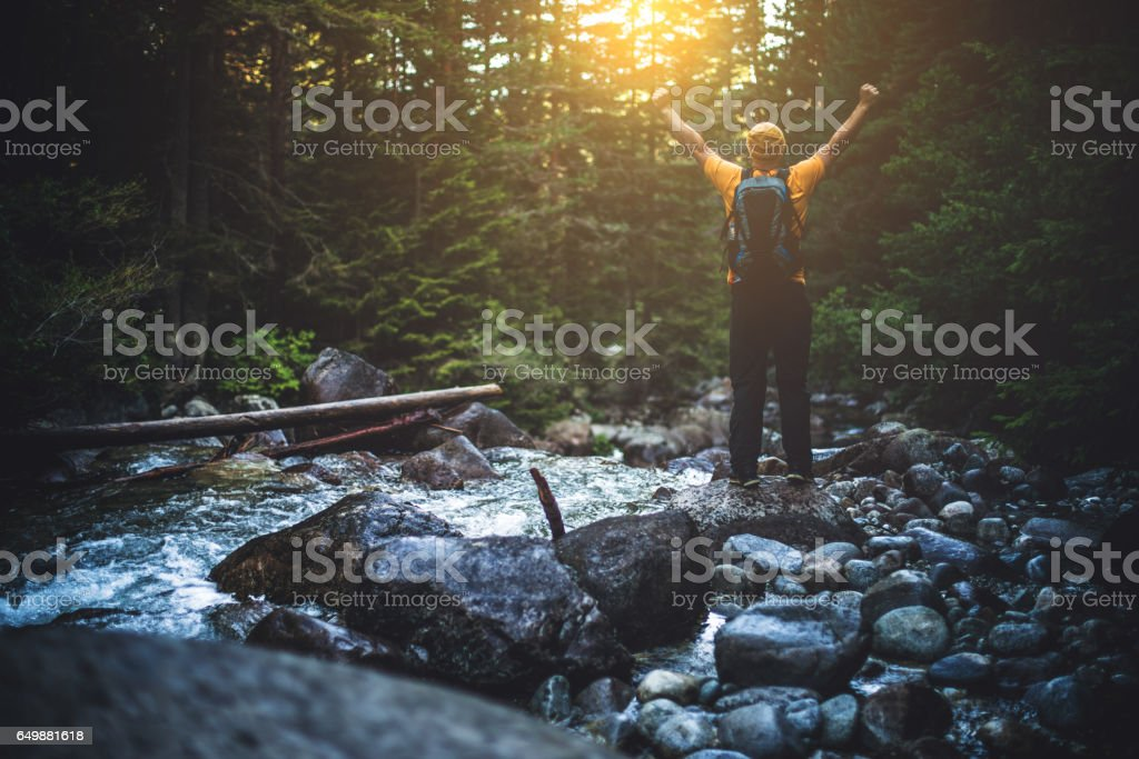 Hiker in the woods at the edge of stream cheers to the sun stock photo