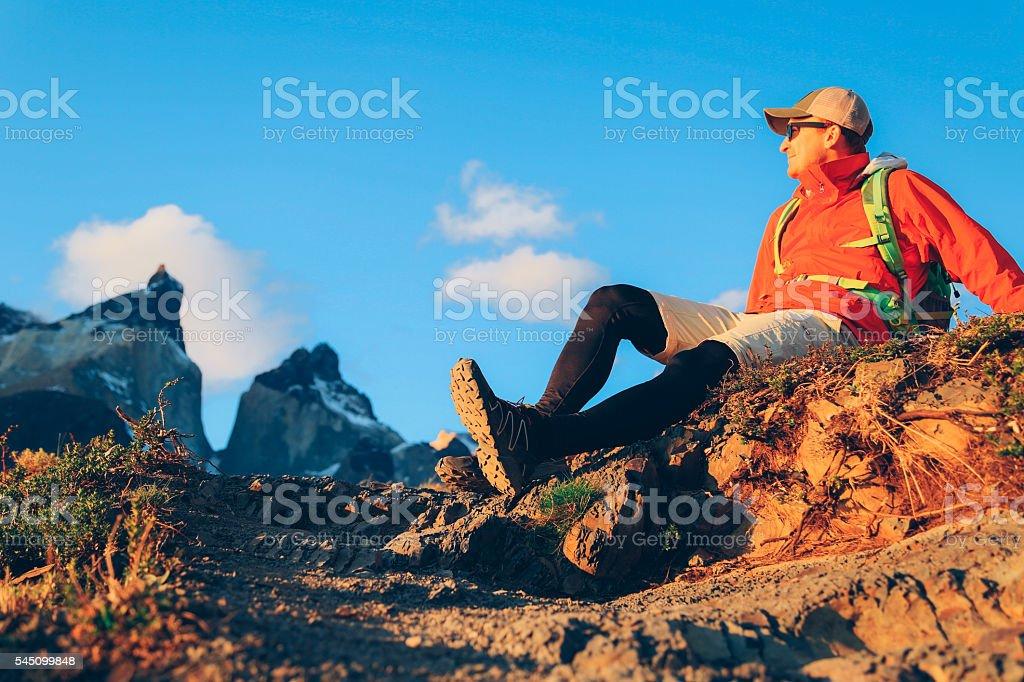 Hiker in Torres del Paine stock photo