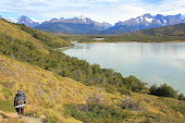 Hiker in Torres del Paine trail - Patagonia, South America