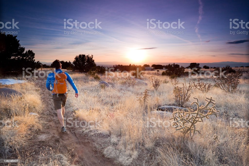 hiker landscape sunset stock photo
