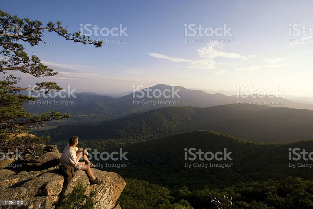 Hiker Looking at Mountain View royalty-free stock photo