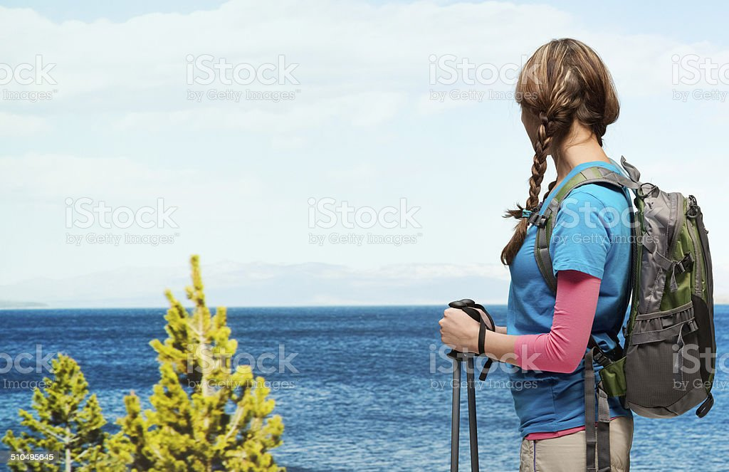 Hiker looking at nature stock photo