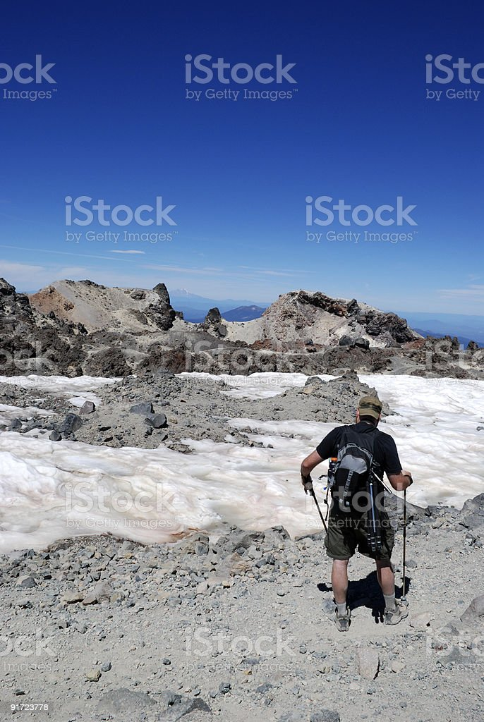 Hiker Looking at the Scenery royalty-free stock photo