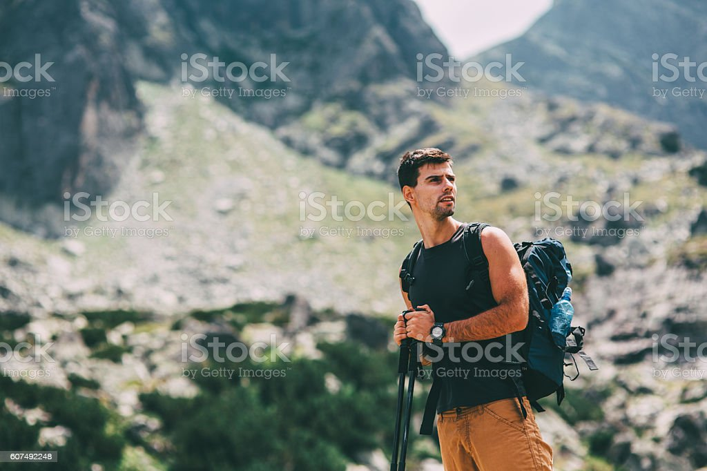 Hiker looking at the view stock photo