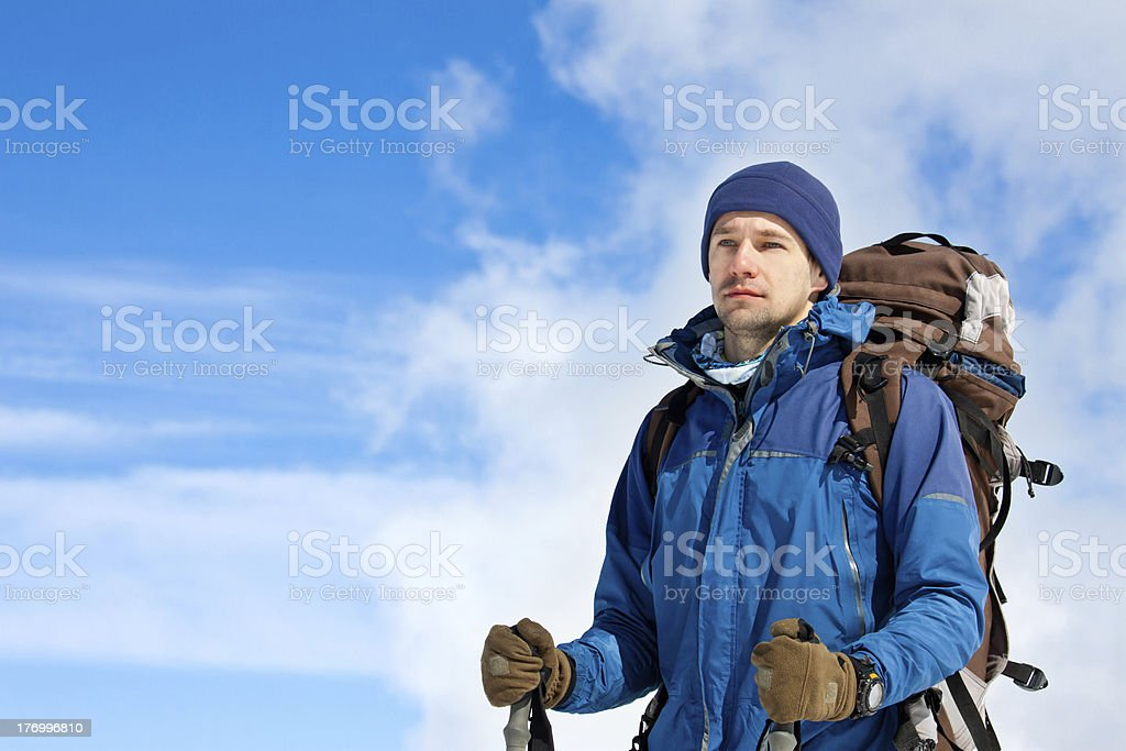 Hiker looking at view royalty-free stock photo