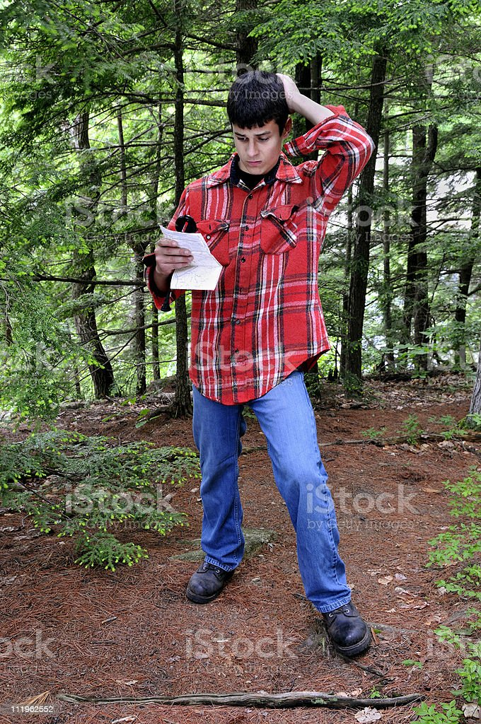 Hiker Lost in Woods royalty-free stock photo