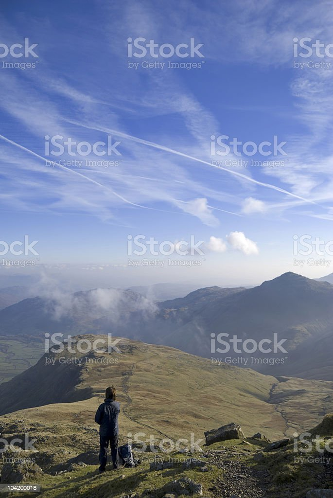 Hiker on Bowfell royalty-free stock photo
