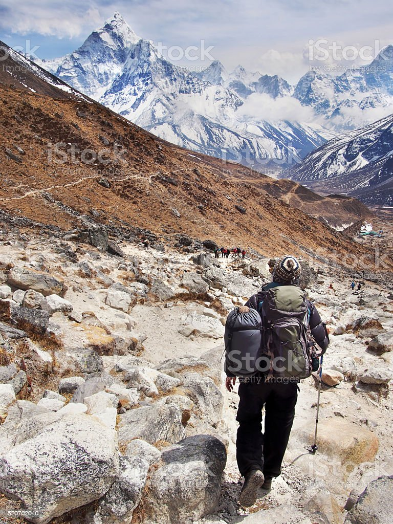 Hiker on Everest Base Camp Trek, Nepal Himalaya stock photo
