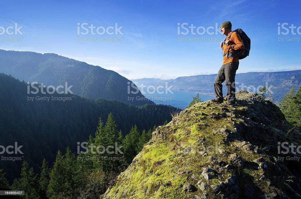 Hiker on Summit stock photo