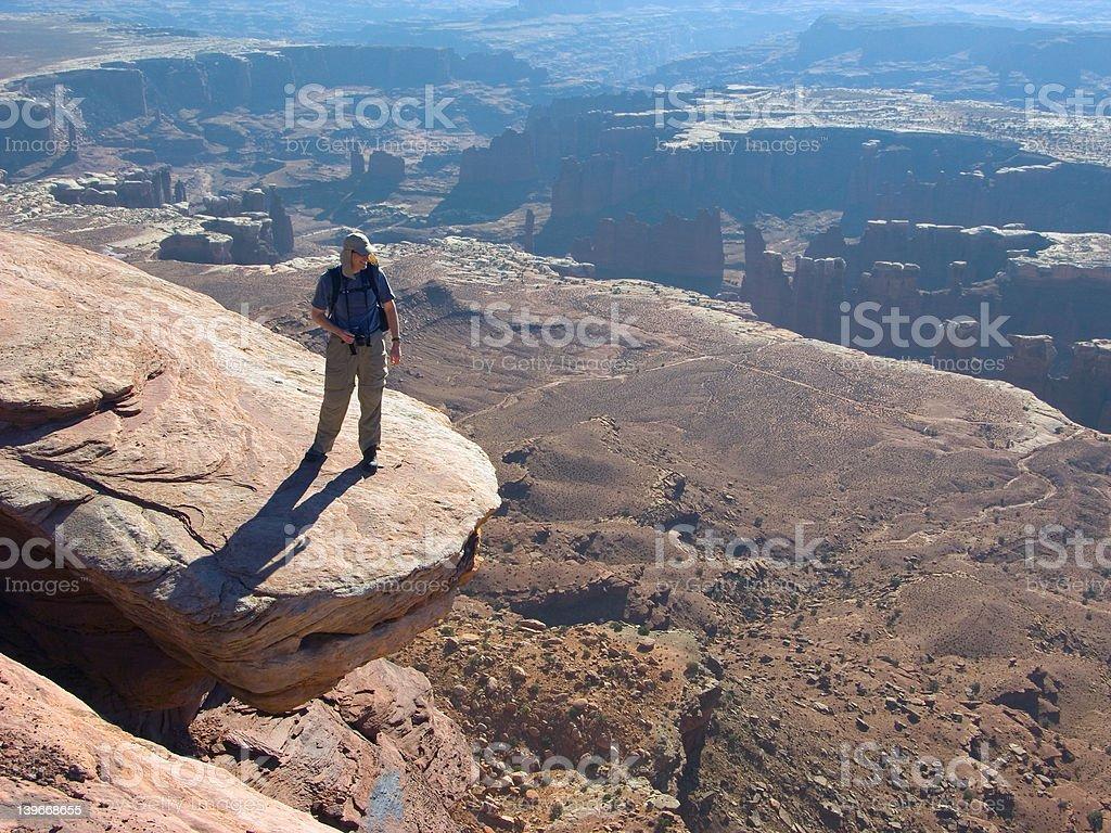 Hiker on the edge stock photo