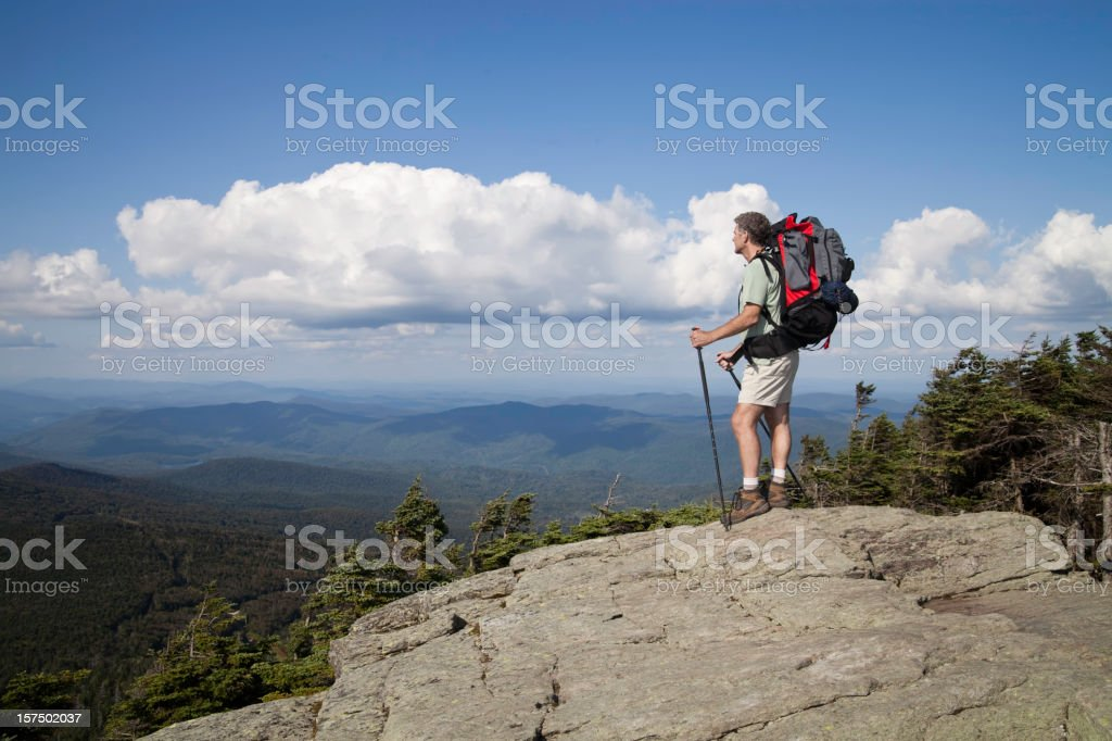 Hiker on the Mountain Top royalty-free stock photo