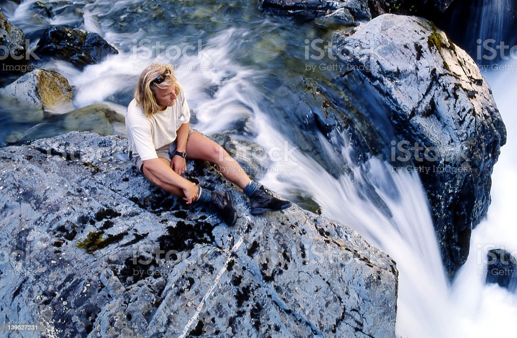 Hiker on the rocks royalty-free stock photo