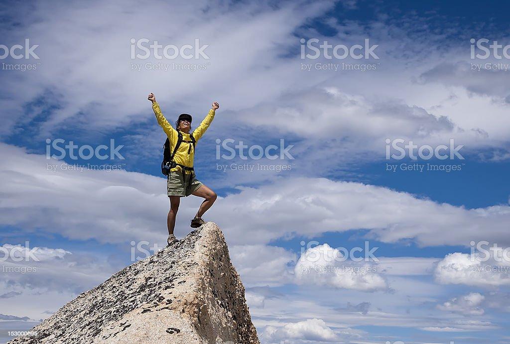 Hiker on the summit. stock photo
