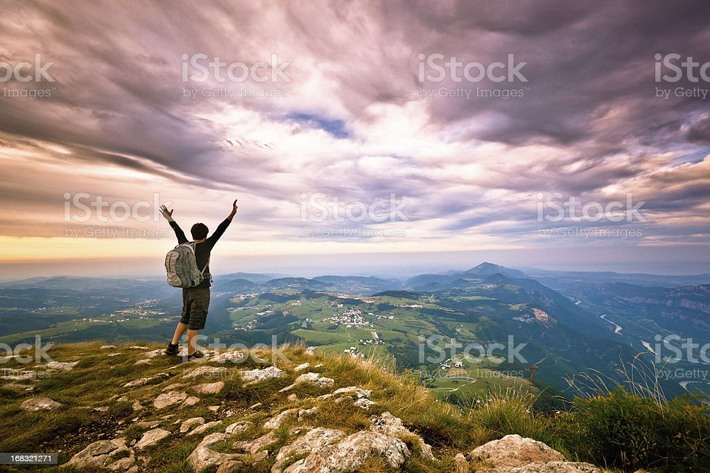 Hiker on top of the Mountain, Success Freedom Concept stock photo