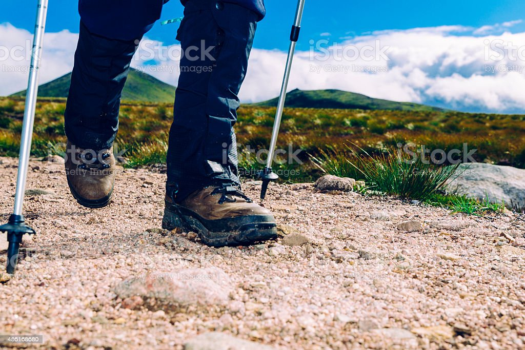 Hiker on trail stock photo