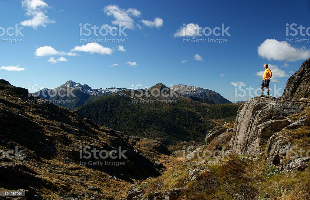 Hiker on Xenicus Peak, Kahurangi, New Zealand stock photo