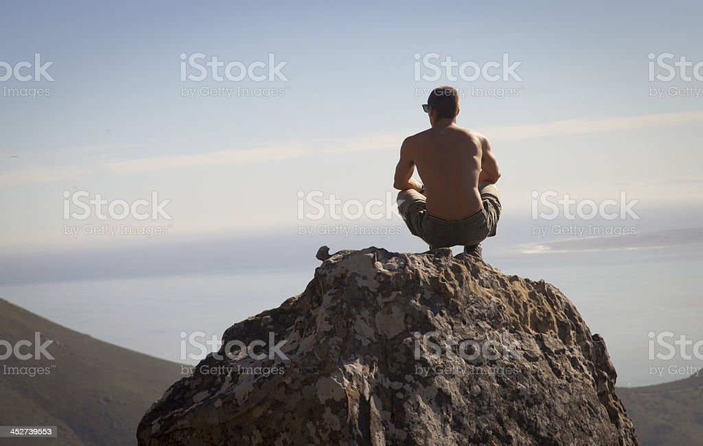Hiker Overlooking Cape Town City Bowl royalty-free stock photo
