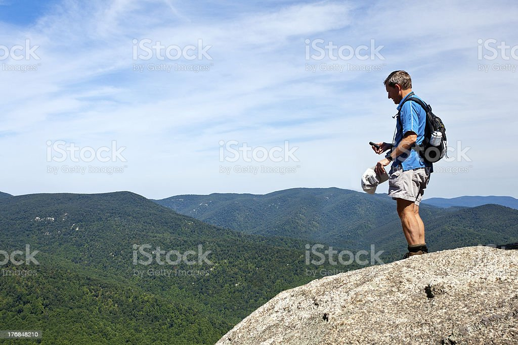 Hiker overlooking Shenandoah valley royalty-free stock photo