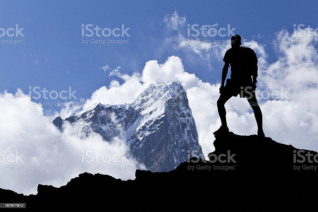 Hiker silhouette stock photo