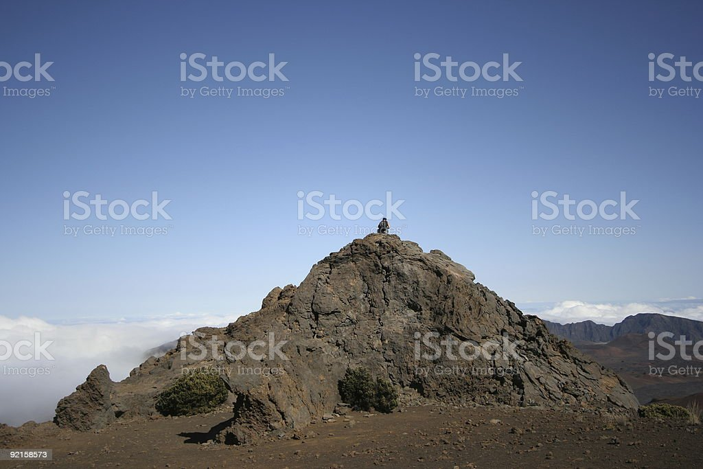 Hiker Sitting on Rock royalty-free stock photo
