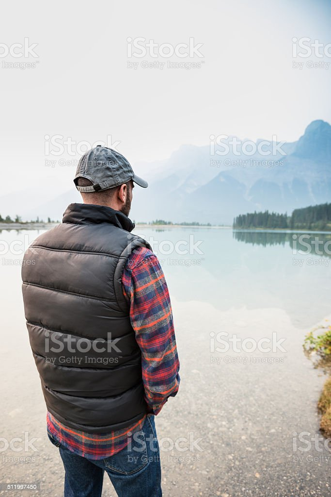hiker standing on the banff national park stock photo
