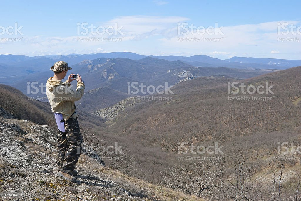 Hiker take a picture royalty-free stock photo