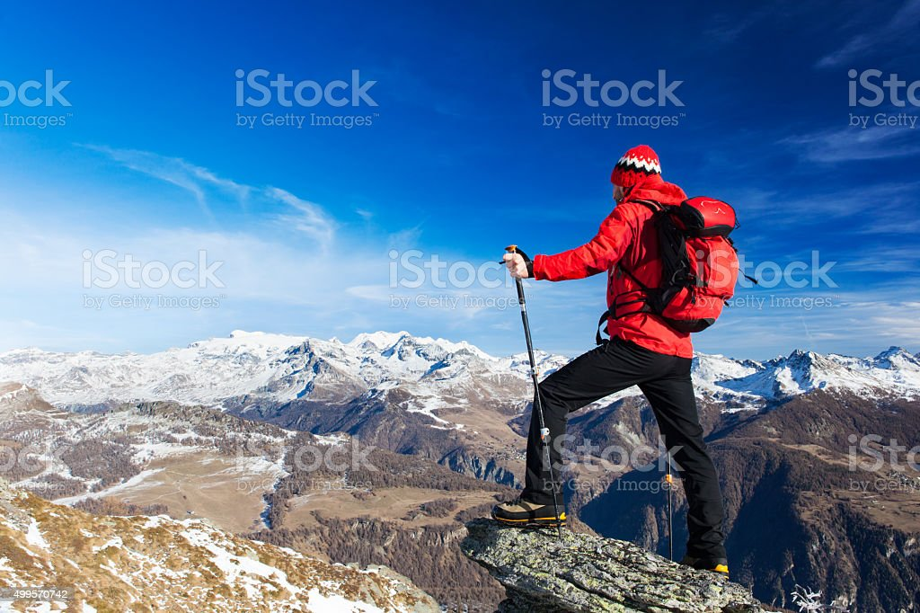 Hiker takes a rest stock photo