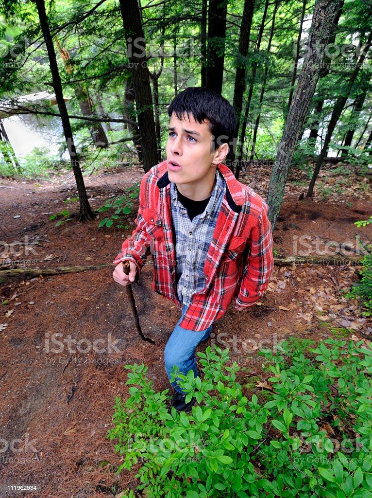 Hiker Views Steep Trail Ahead royalty-free stock photo
