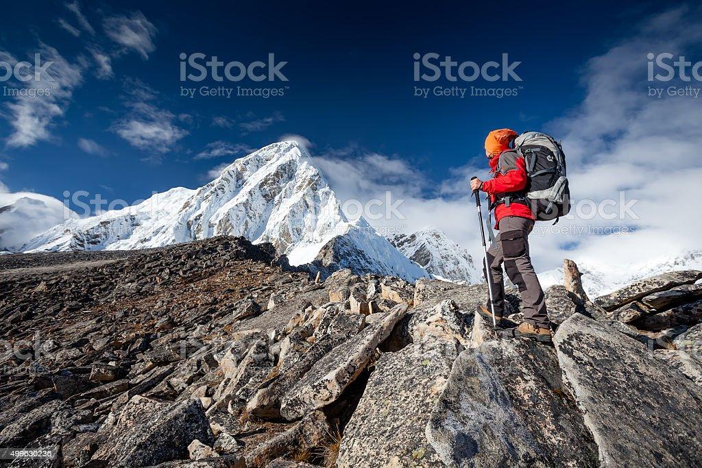 Hiker walks on train in Himalayas stock photo