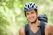 Hiker wearing a helmet