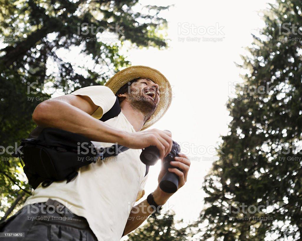 Hiker With Binoculars royalty-free stock photo