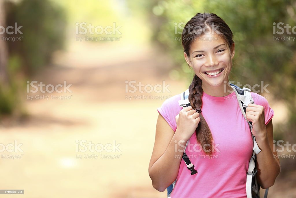 Hiker woman - hiking portrait stock photo