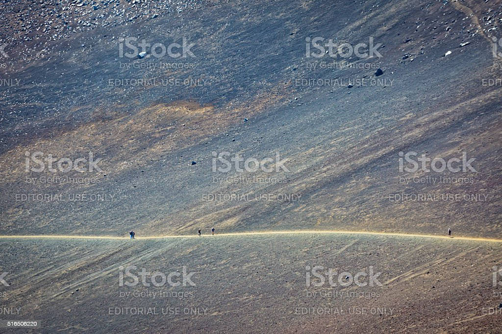 Hikers and tourists Hiking Haleakala Crater in Maui Hawaii stock photo
