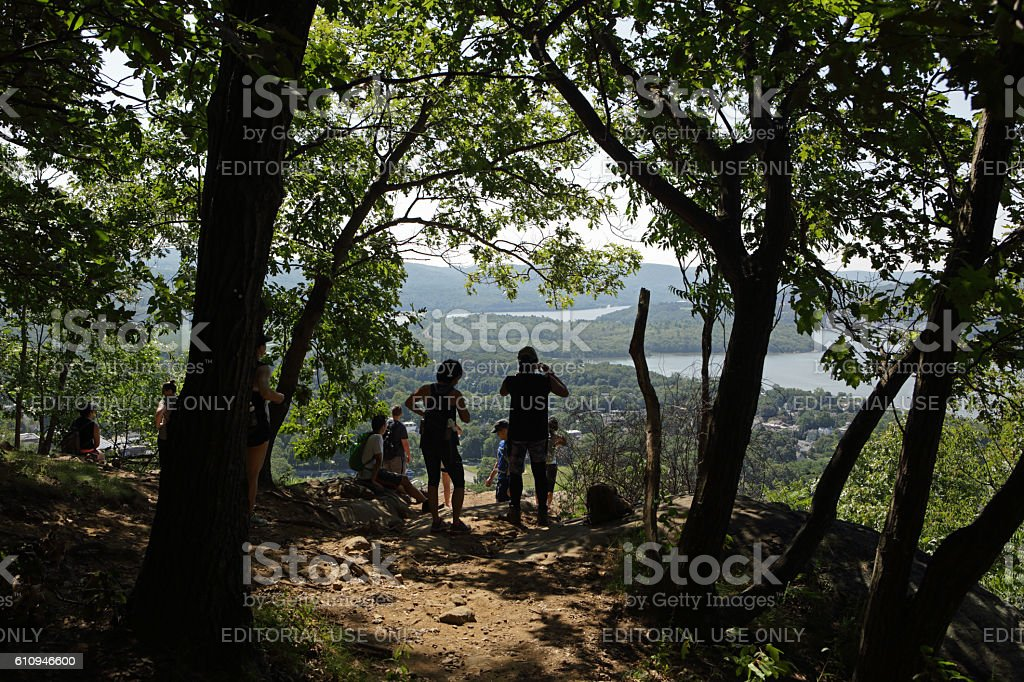Hikers at an overlook on a Hudson Highlands trail stock photo
