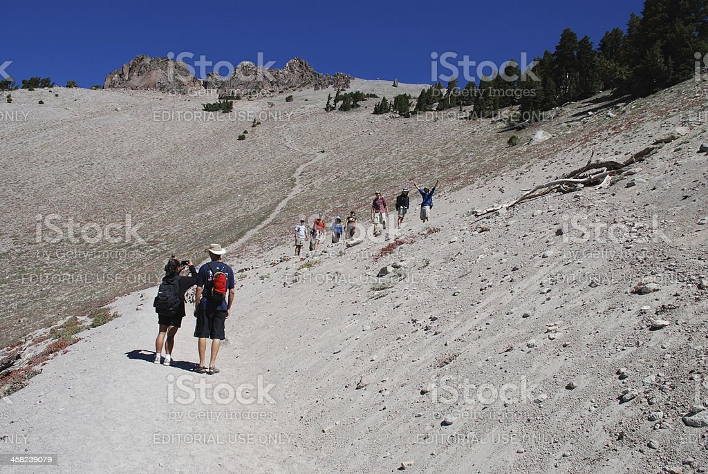 Hikers at Lassen Volcanic National Park royalty-free stock photo