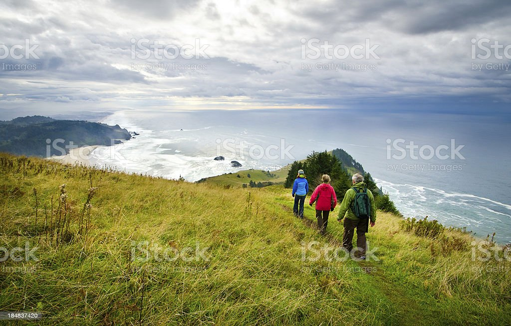 Hikers at the Coast royalty-free stock photo