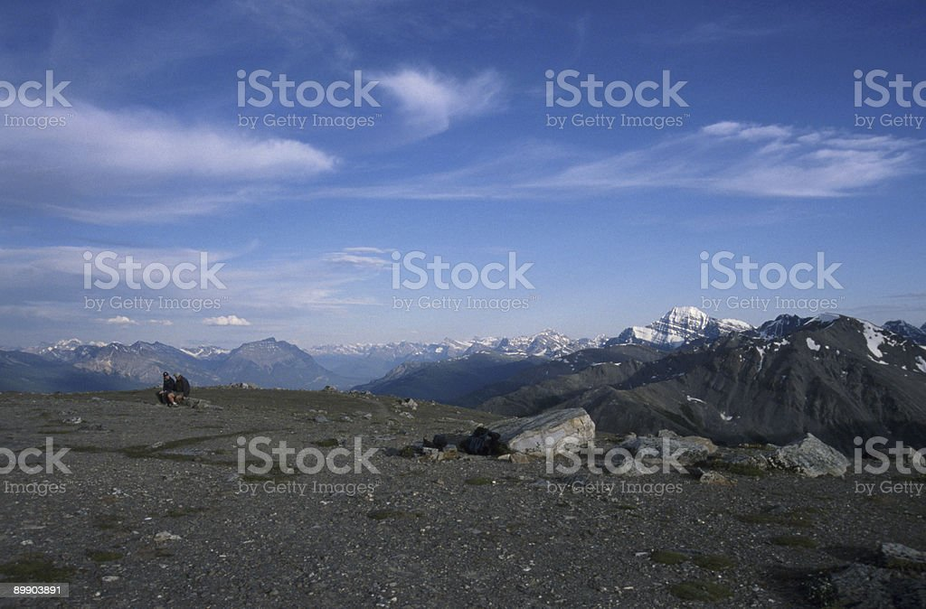 Hikers atop Whistlers Mountain stock photo