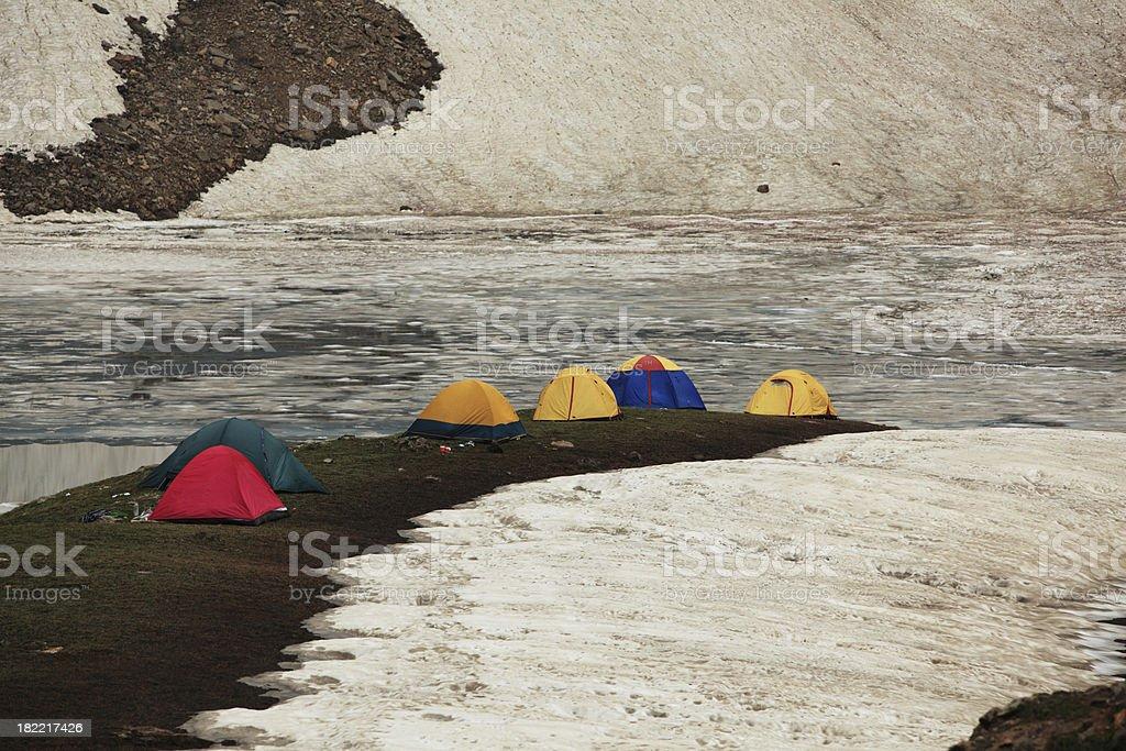 Hikers Camped at Ratti Nar Lake, Kashmir, 13000 feet royalty-free stock photo