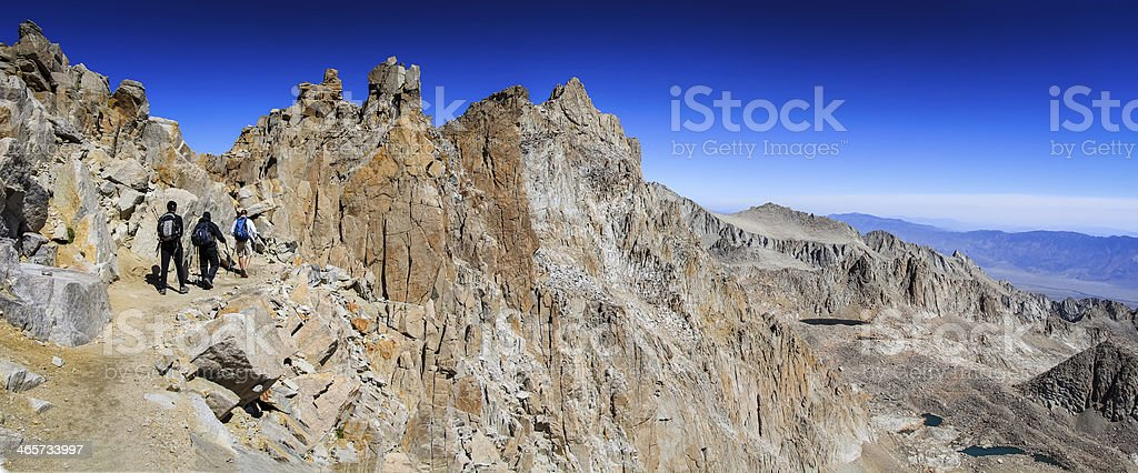 Hikers Climb Mt. Whitney stock photo