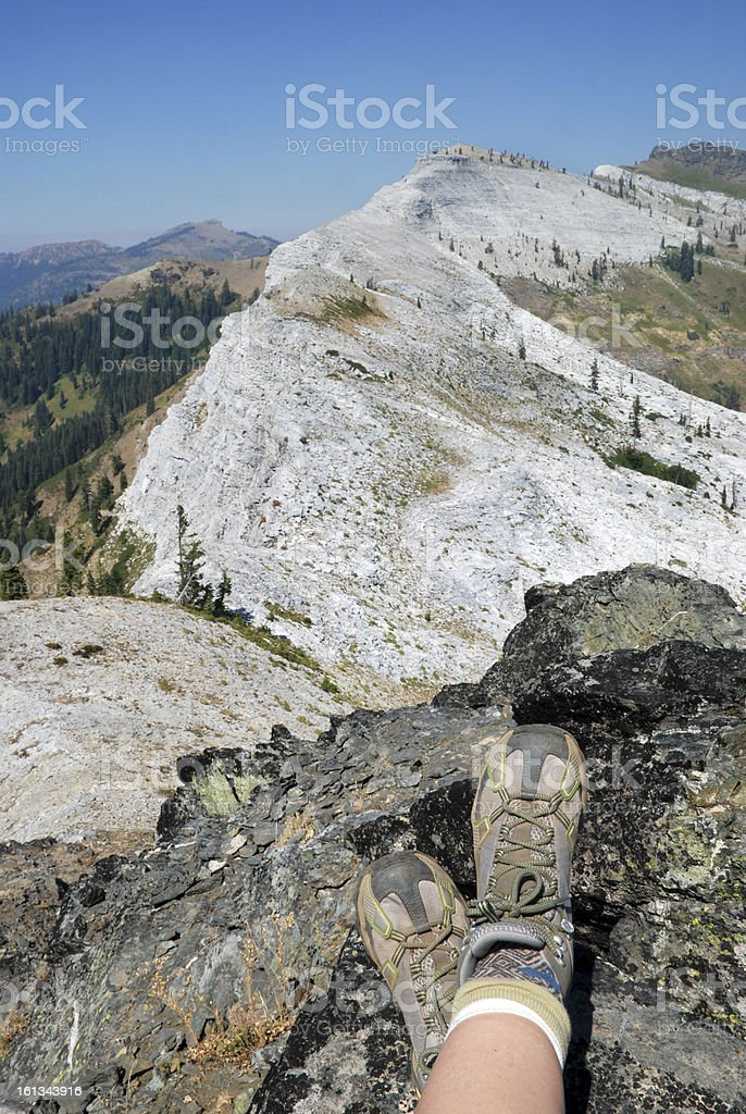 Hiker's Feet at Marble Mountain royalty-free stock photo