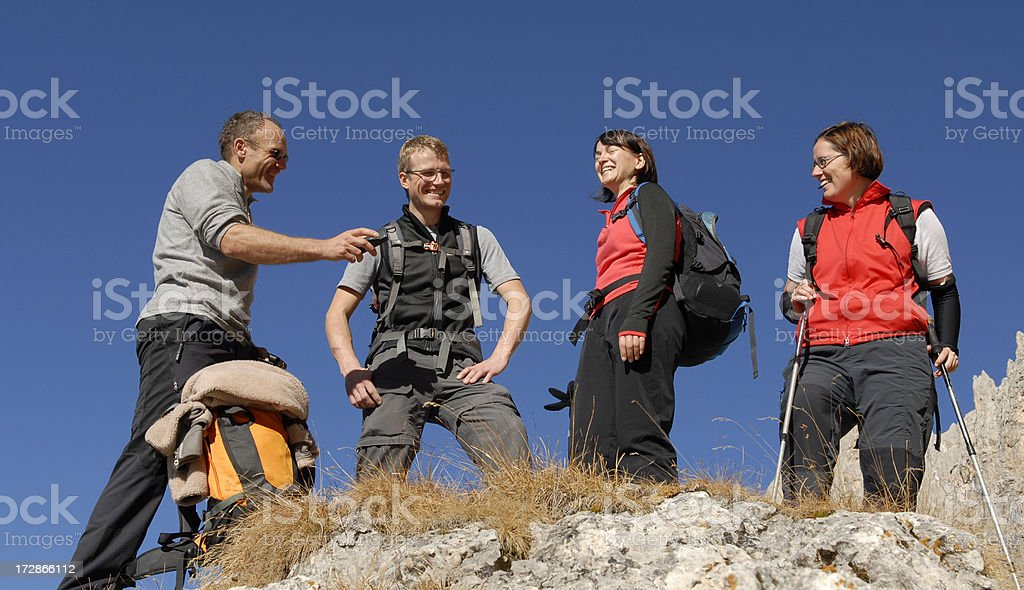hikers group stock photo