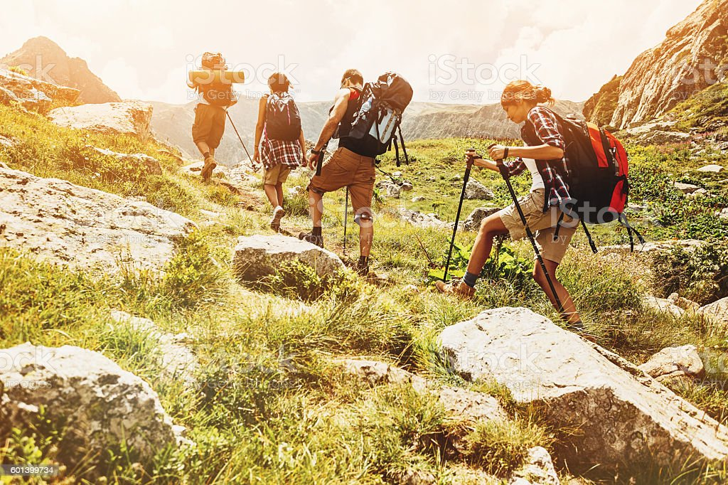 Hikers high in the mointain stock photo