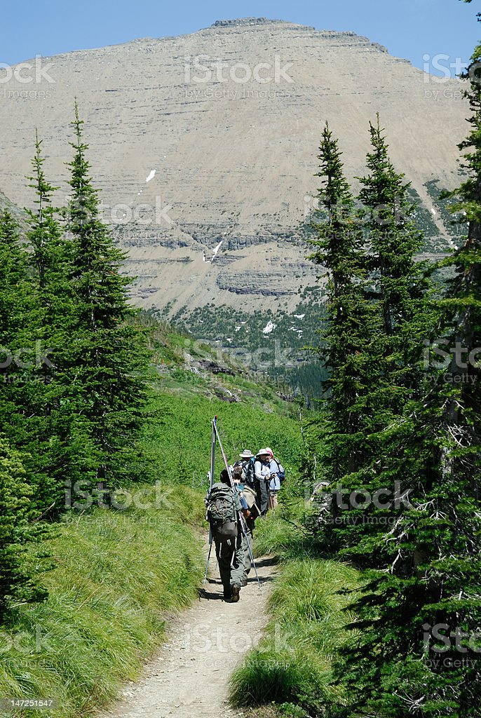 Hikers hiking down a path royalty-free stock photo