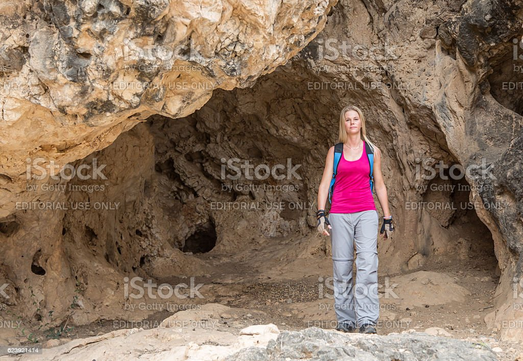 hikers in Dhofar mountains in Salalah stock photo