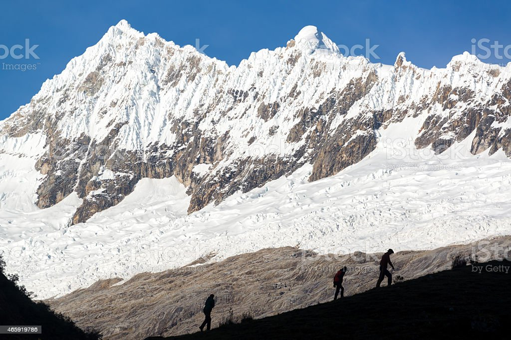 Hikers in Huaraz, Peru stock photo