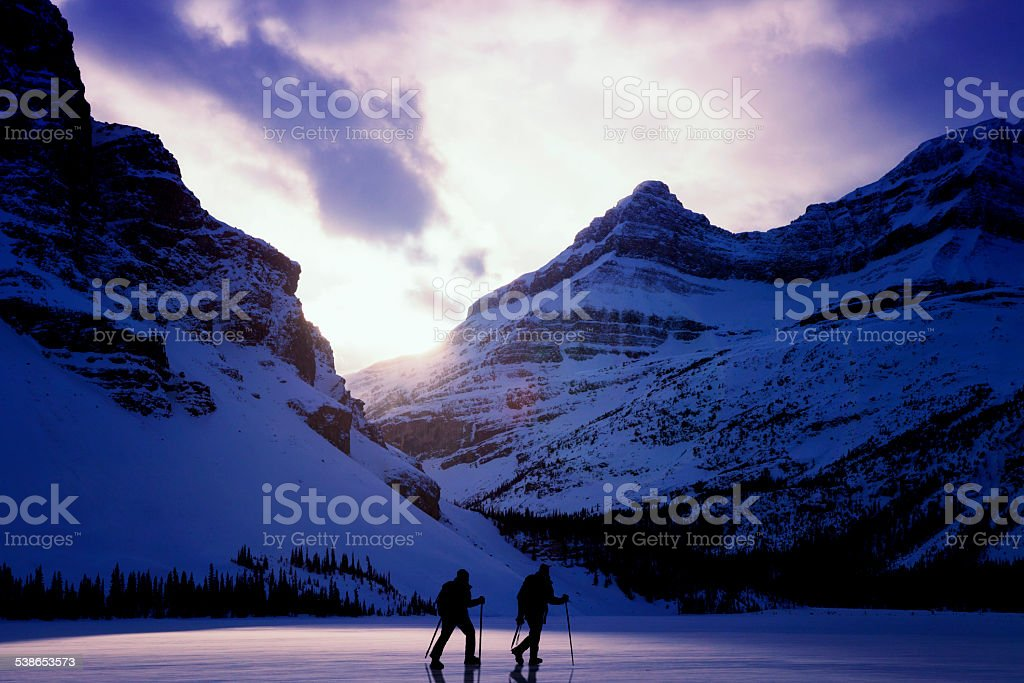 Hikers in Jasper National Park stock photo