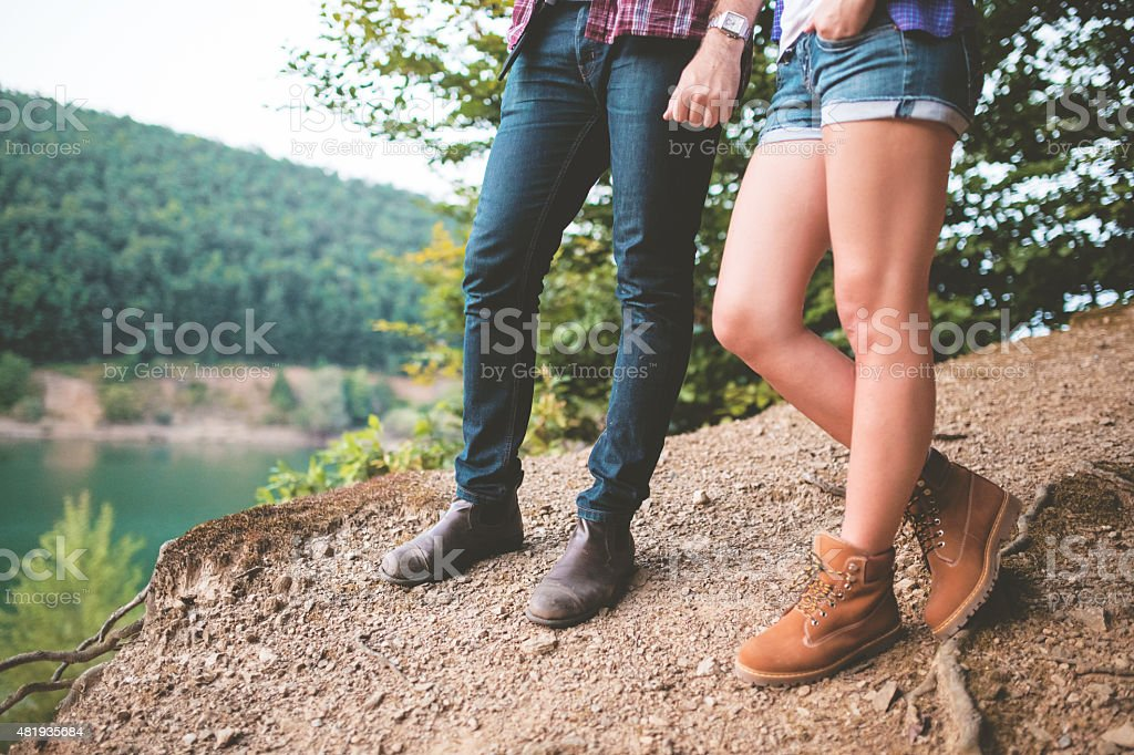 Hikers in love stock photo